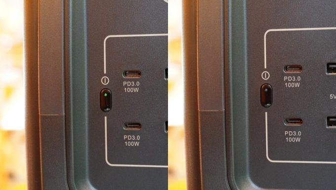 BLUETTIポータブル電源EB70のスイッチのライト