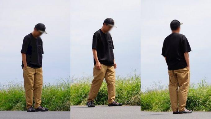 ナコタ nakota ライトウエイトパンツ ロクヨンクロスのコーデ 黒Tシャツ