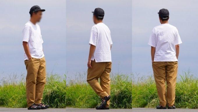 ナコタ nakota ライトウエイトパンツ ロクヨンクロスのコーデ 白Tシャツ
