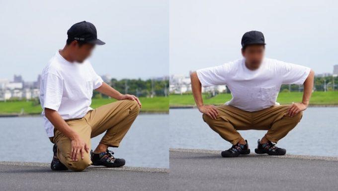 ナコタ nakota ライトウエイトパンツ ロクヨンクロスの動きやすさ しゃがむ