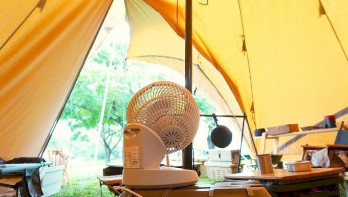 モダンデコ 3D サーキュレーターをテントの入口に向ける